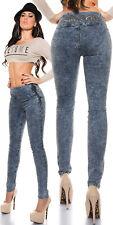 Sexy KouCla Skinny Highwaist Jeans Acid wash Jeansblau Gr. 36-38