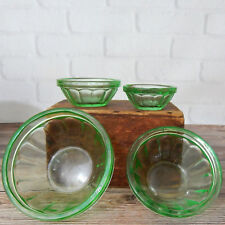 "Vintage Set of 4 Miniature Clear Green Glass Nesting Serving Bowls 2.25"" - 4"""