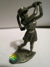 """Vtg Pewter Image 1.5"""" Figurine Woman Golfing With Golf Crystal Ball"""
