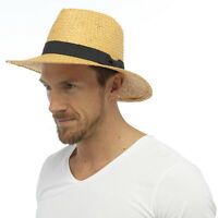 Unisex Paper Straw Crushable Fedora Panama Wide Brim Packable Summer Sun Hat