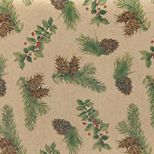 Pinecones & Holly Christmas Tissue Paper # 721 ~ 10 Large Sheets