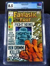 Fantastic Four #92, CGC 8.5, 1969, OW/W pages, new slab.