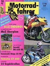 Motociclisti 7/94 1994 KAWASAKI NINJA zx-9r Morbidelli v8 MUZ SCORPIONE DR 650