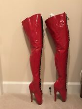 "Little Shoe Box Thigh-High Ballet Boots 9"" Heels - Red Patent Leather UK11"