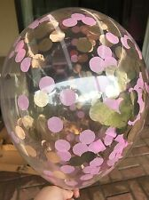 Baby Pink And Rose Gold Confetti Balloons PACK OF 3 1st Birthday Wedding