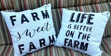 Farm Sweet Farm & Life is Better on The Farm 18x18in Pillows Lot of 2 New