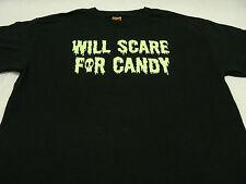 WILL SCARE FOR CANDY - EXTRA LARGE SIZE HALLOWEEN T SHIRT!