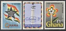 Ghana 1961 Republic Day/Eagle/Column/Flags/Flower/Animation 3v set (n39595)