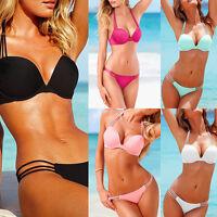 Sexy Women Triangle Bikini Set Push-up Padded Bra Swimsuit Bathing Suit Swimwear