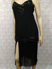 Black Fringed Sequined Flapper Dress Vintage Short Spaghetti Strap L 40 In Chest