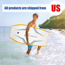 41''Lightweight Bodyboard w/ Wrist Leash Ocean surfing Water Sport Foam Yellow