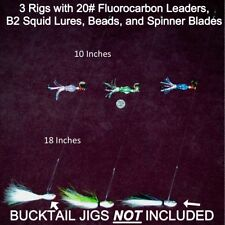 FLUKE FLOUNDER FLUOROCARBON BUCKTAIL HI LOW B2 SQUID RIGS JIGS LURES ULTRAVIOLET