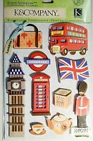 London Big Ben Hyde Park Tea Buckingham Palace Guard RARE K&Company 3D Stickers