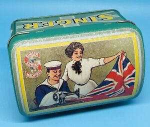 Singer Sewing Box Union Jack Flag, Sailor, Lady, Trunk Shaped w Latch