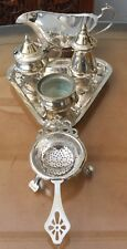 More details for silver plate lot. cruet on tray, sauce jug on feet, tea strainer on stand