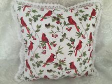 Vintage Christmas Cardinal Red Bird Throw Pillow Red Gingham Fabric Crochet Lace