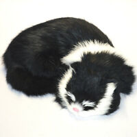 Realistic Black Cat Soft Rabbit Fur Sleeping Furry Pet Plush Animal Photo Prop