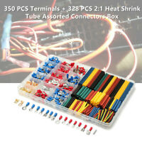 678PCS Car AWG Wire Electrical Set Terminal Connectors + Heat Shrink Tube w/ Box
