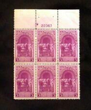 US Stamps Plate Blocks #854 ~1939 - INAUGURATION OF WASHINGTON 3c MNH