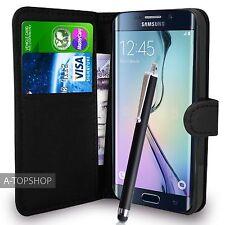 NERA CUSTODIA A PORTAFOGLIO SIMILPELLE libro cover per Samsung Galaxy S6 EDGE
