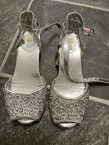 DISNEY FROZEN ELSA silver glitter shoes size 12