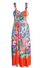 H&M Trend Red Oriental Floral Midi Pleated Dress 8 10 Bnwt
