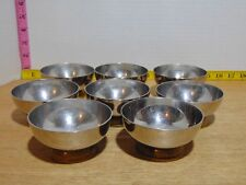 """Eight J.S.T. Mid Century Footed Chrome And Brass Dessert Sherbet Bowls 3 1/2"""""""