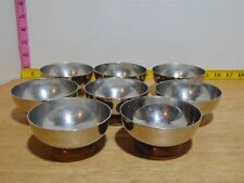 """8 J.S.T. Dessert Sherbet Bowls Chrome And Brass Footed Mid Century 3 1/2"""""""