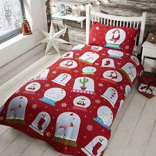 Snow Globe Christmas Single Duvet Cover Set Red Bedding Kids
