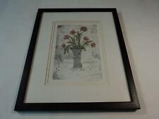 Designer Framed Matted Print Batik Floral Multicolor Floral Contemporary