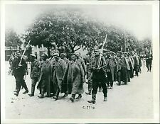1914 World War I Captured Russians March to Camp Original News Service Photo