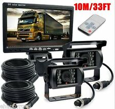 """New listing 7"""" Tft Lcd Monitor + 2x 33ft 4pin Rear View Backup Night Vision Camera for Truck"""