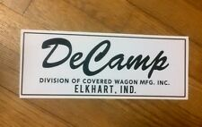 "DeCamp  Vintage Travel Trailer Black & White  Reproduction decal 10"" set 2"