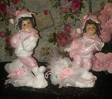 Shabby Chic Pink Christmas Figurines Pink Christmas Village Pink Christmas