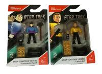 Lot of 2 Mega Construx Star Trek Series 2 Captain Kirk Commander Spock Original