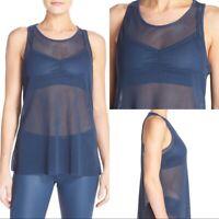 ALO YOGA New Womens S Small Blue Lucid Mesh Sleeveless Activewear Cami Tank Top
