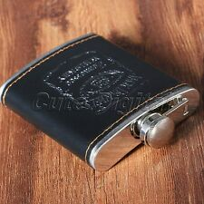 Engraved Leather Wrapped Stainless Steel 7 oz Hip Flask Portable Whiskey Flagon