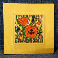 More details for handcrafted painted enamel and copper art plaque karin wendt poppies remembrance