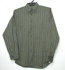 Equilibrio Italy Casual Button Down Shirt sz Large Striped Cotton Double Collar