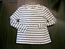 J J. CREW Long Sleeve Cotton White Black Striped Sweater Size Extra Large XL