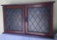 Mahogany Antique Glazed Cupboard Cabinet Vintage Diamond Leaded two doors