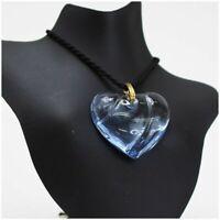 Baccarat Heart Motif Necklace Choker Crystal Glass Light Blue Second Hand A