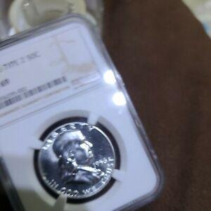 1956 US Franklin Silver Half Dollar Proof 50C - Type 2 - NGC PF69