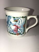 Unicorn Christmas Porcelain Coffee Cup Mug 1982 Vintage Wallace Berrie Japan