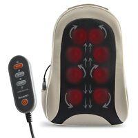 Shiatsu Portable Cordless Back Massage with Heat Deep Kneading Massager Car Seat
