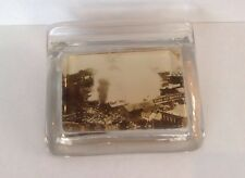 Vintage 1912 Fire At Quincy Glass Desk Office Paperweight & Pen Holder