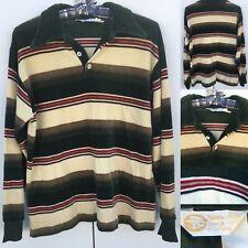 Vintage Pebble Beach Of California Velour Shirt Striped Long Sleeve 70s 80s Sz L