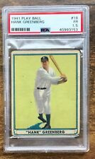 1941 Play Ball Baseball Card #18 Hank Greenberg Detroit Tigers PSA 1.5 Fair HOF