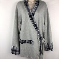 Josie Natori Womens Bathrobe Short robe Size L/Large Gray wrap style