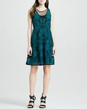 NWT Yoana Baraschi Anthropologie Embroidered Lace Black/Teal Cocktail Dress 2